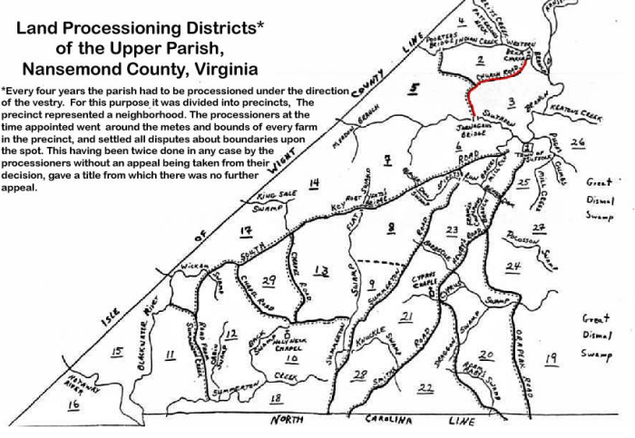 Upper Parish Nansemond County Processioning Boundaries. Map attributed to Bobbie Jones of Suffolk, c. 1970.